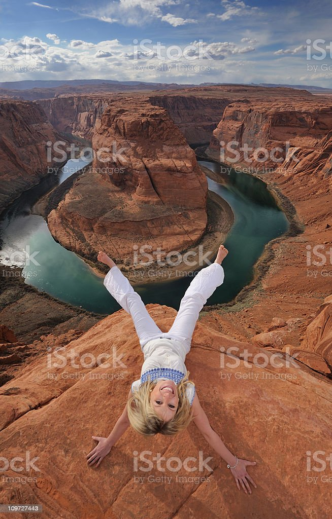 Sitting on the Edge - Horseshoe Bend (XXL) stock photo