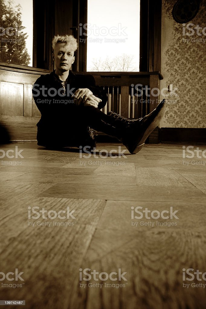 sitting on the floor royalty-free stock photo