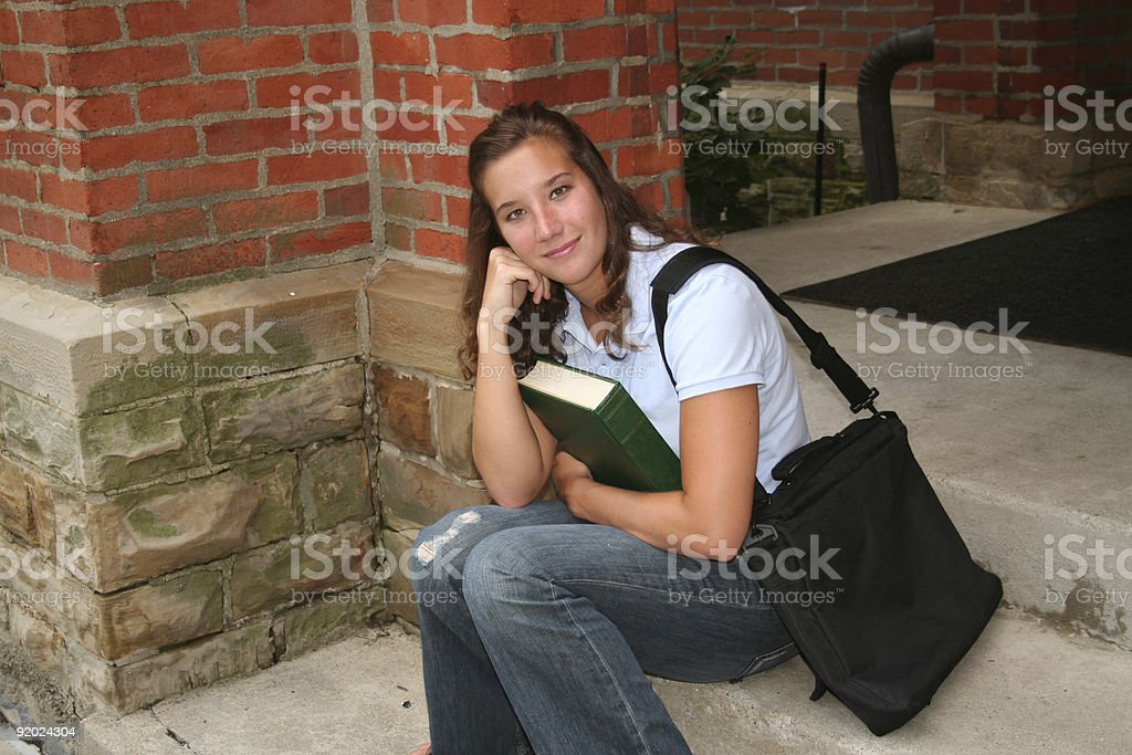 sitting on the steps royalty-free stock photo
