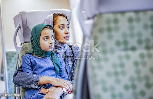 A Muslim mother and daughter are sitting on a train. They are looking out the window.