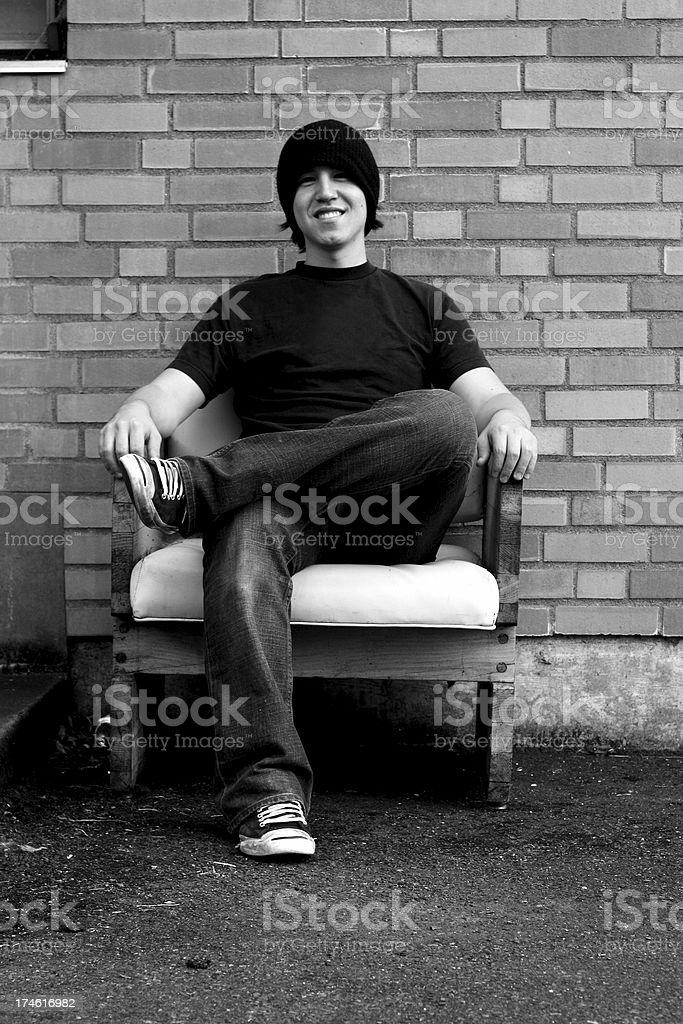 Sitting Smiling royalty-free stock photo