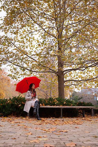 Sentado sob uma árvore no outono - foto de acervo