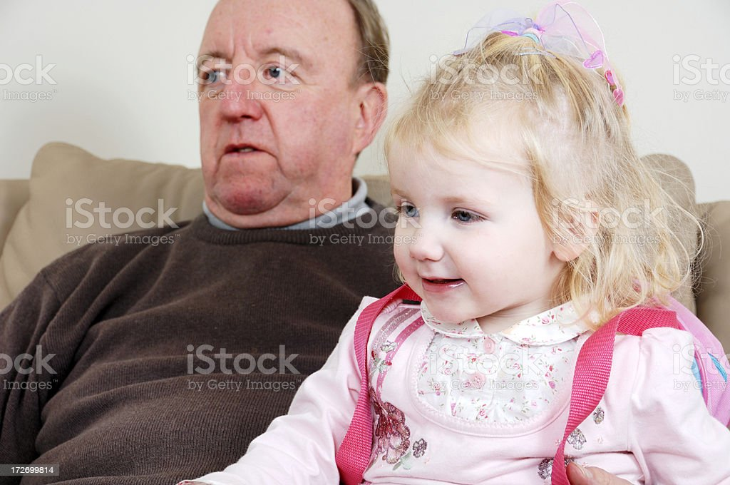 sitting with grandad royalty-free stock photo