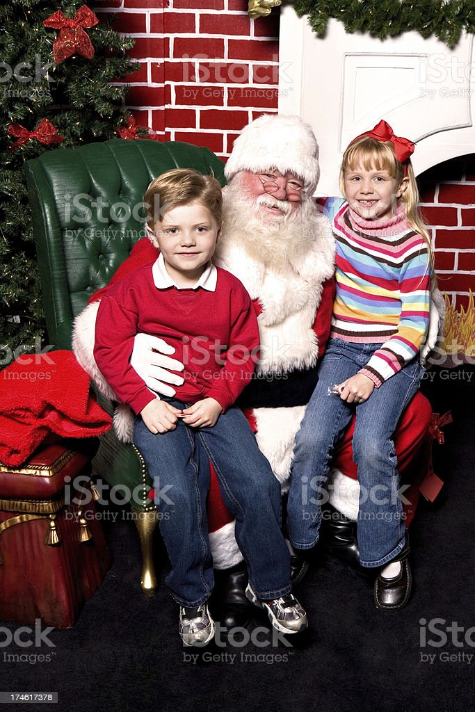 Sitting with Santa stock photo