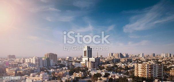 Sityscape of Beautiful Metropolitan City Karachi In Pakistan At Evening - City Of Lights