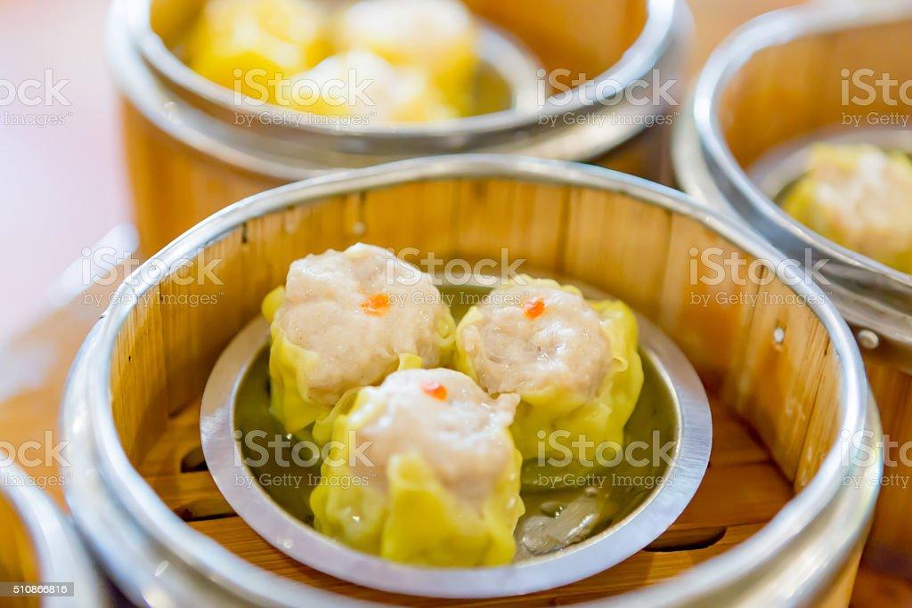 Siu Mai / Dim sum - Chinese steamed pork dumplings stock photo