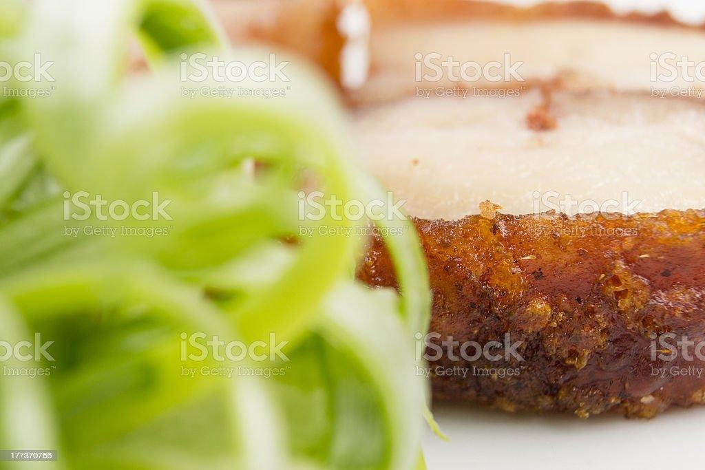 Siu Yuk - Chinese crispy roasted belly pork. Macro Shot. royalty-free stock photo