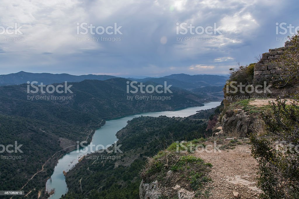 Siurana seen from the surrounding population. stock photo