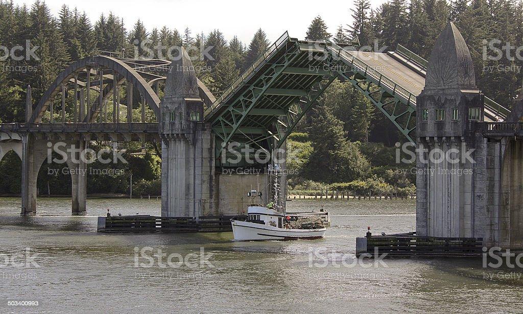 Siuslaw River Ship Crab Boat  Draw Bridge Florence Oregon Coast stock photo