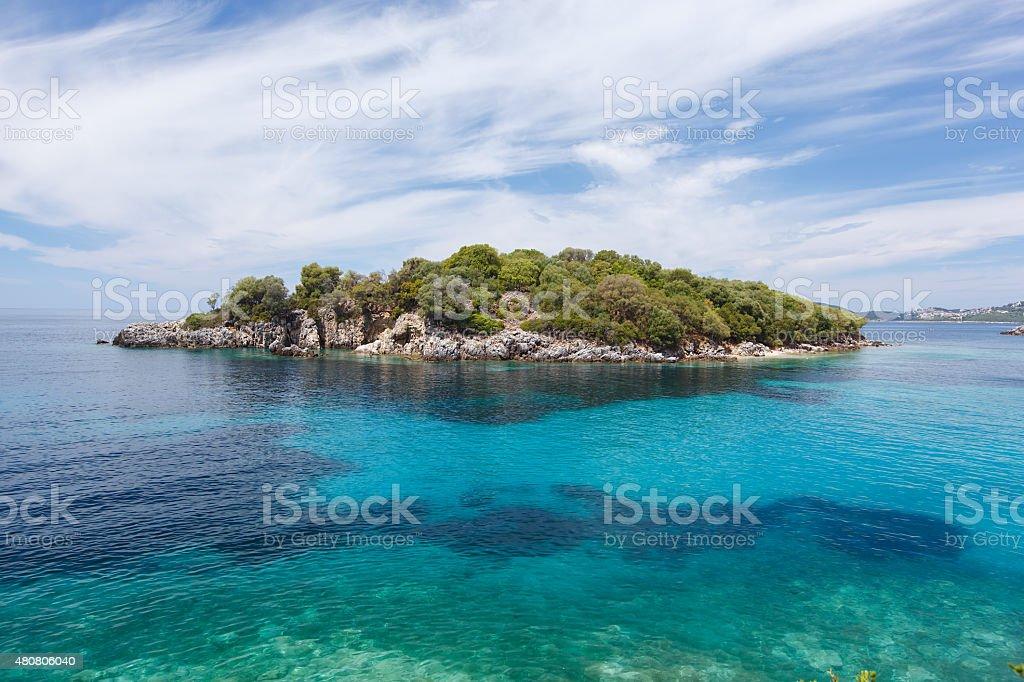 Sivota (Syvota) Agia Paraskevi island stock photo