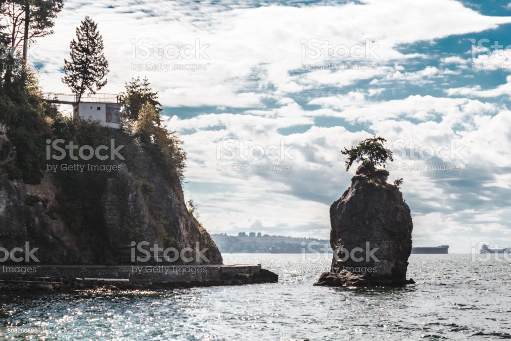 Siwash Rock in Vancouver, BC, Canada stock photo