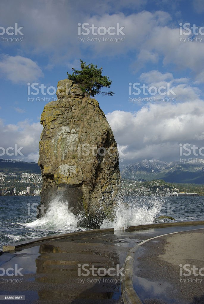 Siwash Rock on the Vancouver Seawall royalty-free stock photo