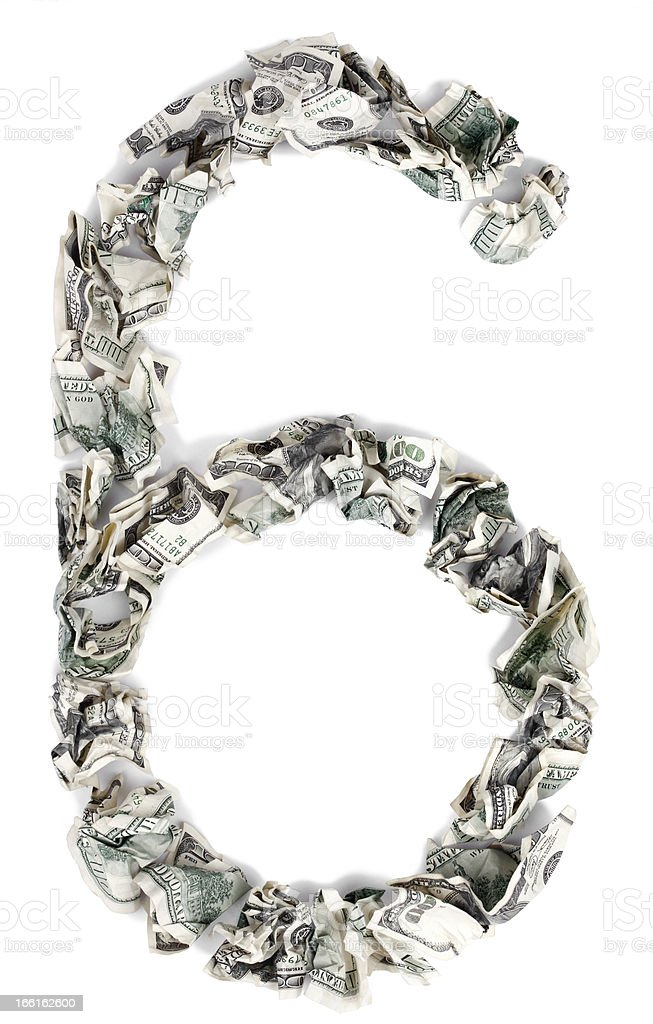 Six 6 / Nine 9 - Crimped 100$ Bills royalty-free stock photo