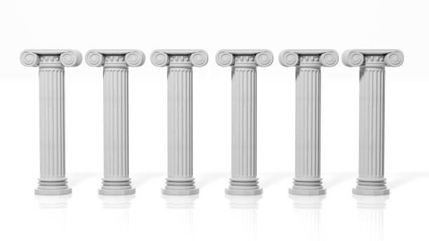 sechs antike säulen, isoliert auf weißem hintergrund. - römisch 6 stock-fotos und bilder