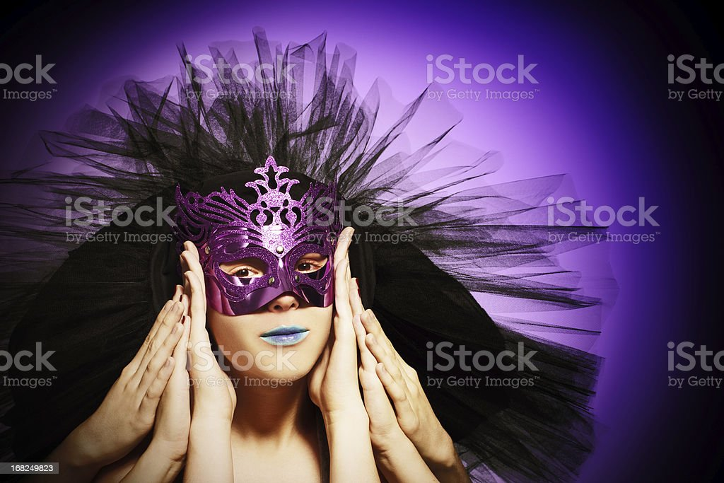 Six arms girl  with mask royalty-free stock photo
