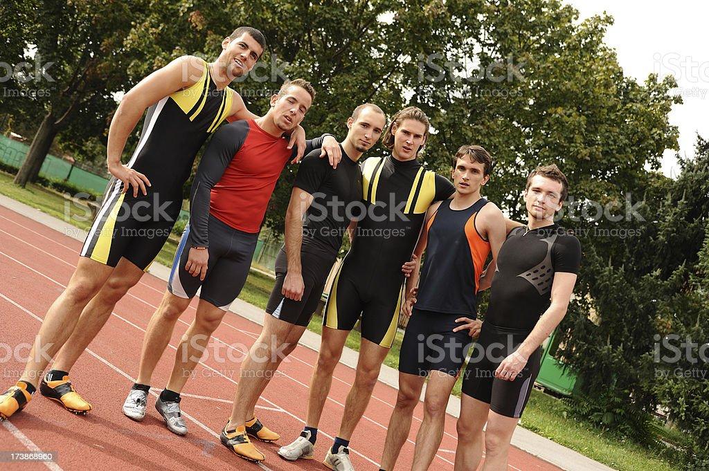 Six athletes posing royalty-free stock photo