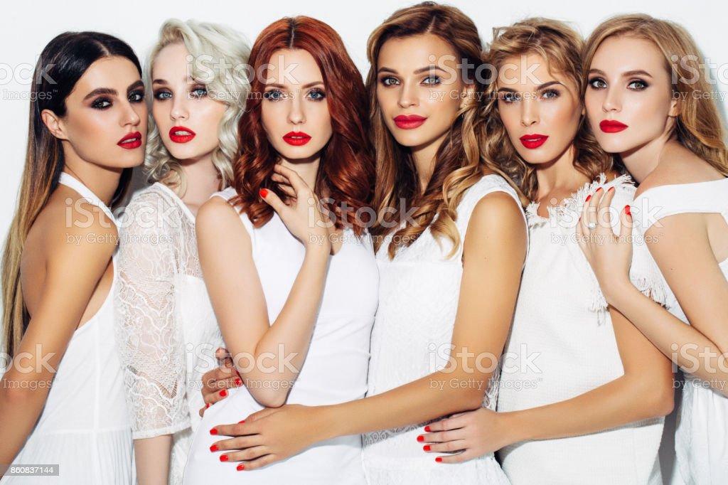 Six beautiful girls with make-up stock photo