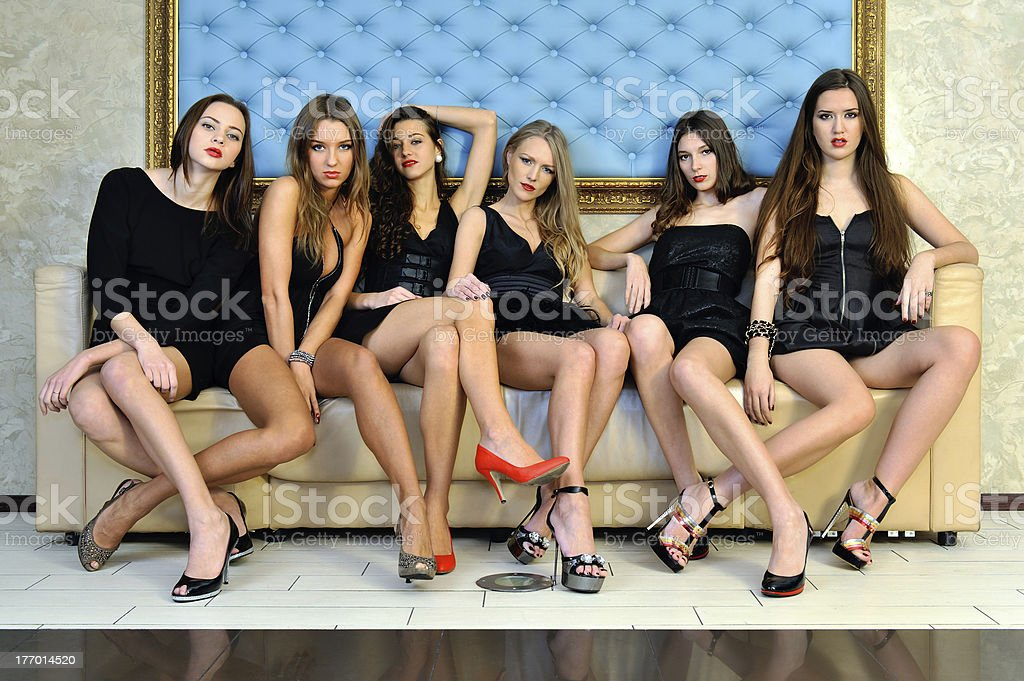 Six beautiful sexy models in the hotel. royalty-free stock photo