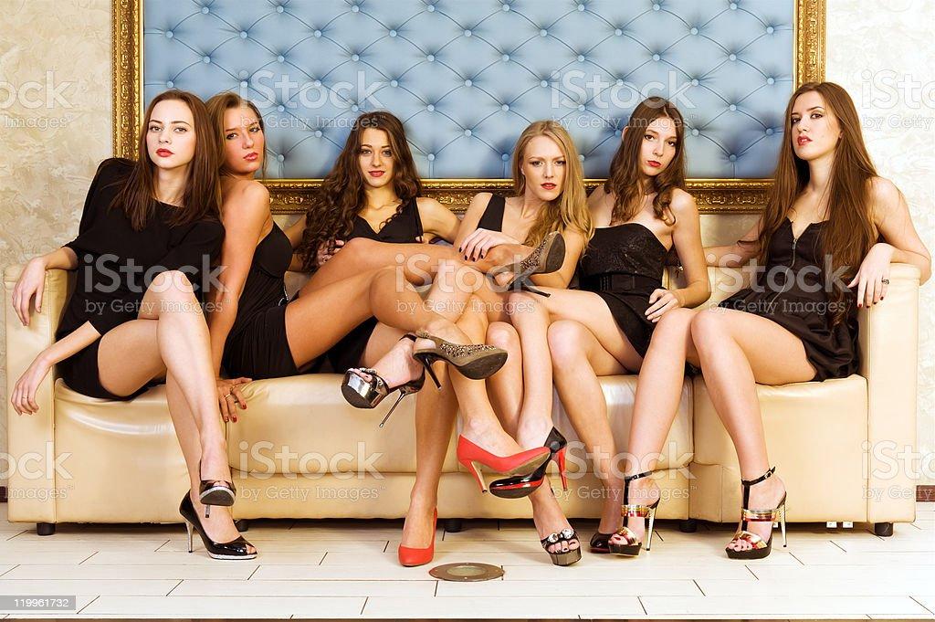 Six beautiful women royalty-free stock photo