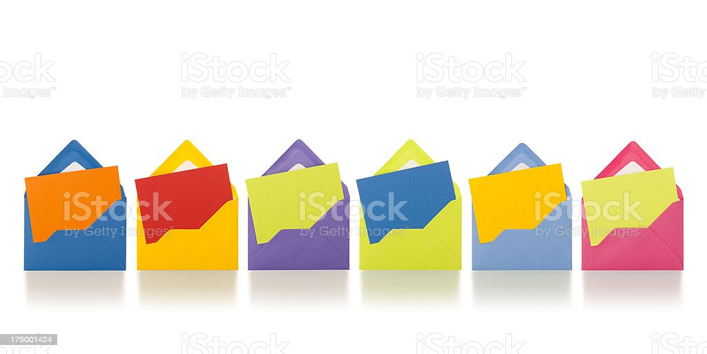Six blank colourful envelopes in a row royalty-free stock photo