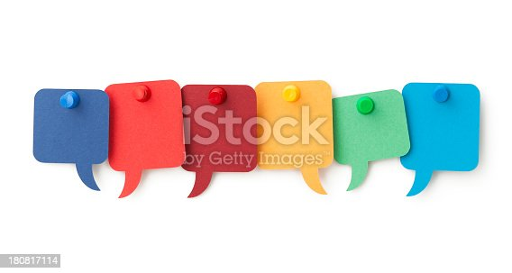 Six blank colourful speech bubbles pinned to a white surface. Isolated on a pure white background, no dot in the white area so no need to cut-out e.g. can be dropped directly on to a white web page seemlessly.