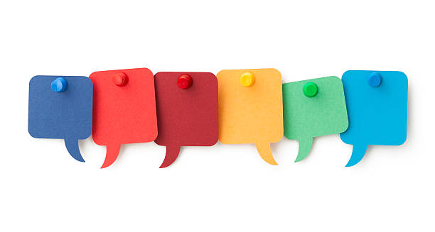 six blank colourful speech bubbles pinned to a white surface - number 6 stock photos and pictures