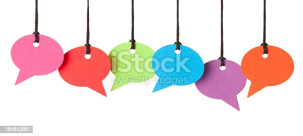 Six blank speech bubbles hanging from thread, other lengths available. Isolated on a pure white background, absolutely no dot in the white area, no need to cut-out.