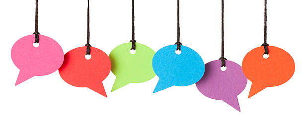 six blank speech bubbles hanging from thread - number 6 stock photos and pictures