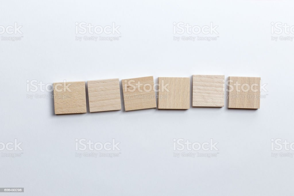 Six blank toy block tiles stock photo