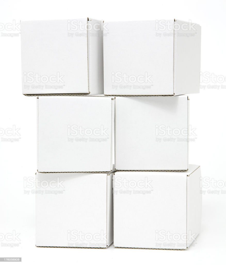 Six blank white cartons stacked and isolated royalty-free stock photo