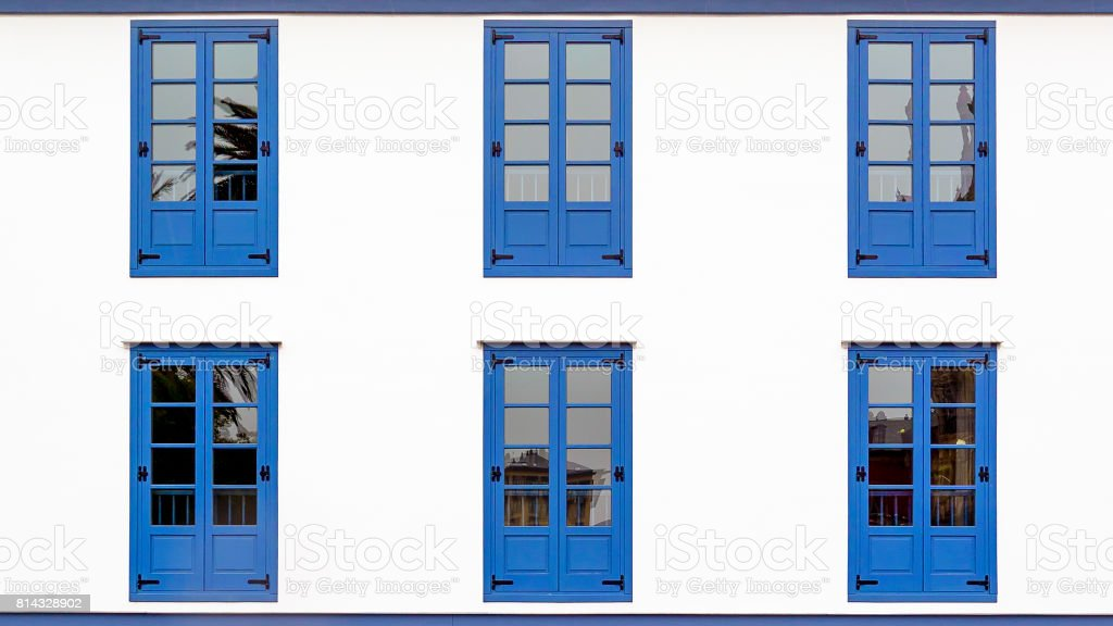 Six Blue Windows stock photo