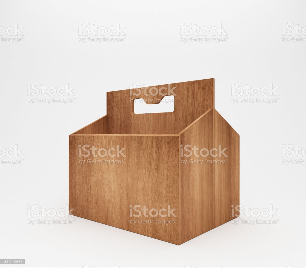 Six bottles of beer in wooden cardboard carrier royalty-free stock photo