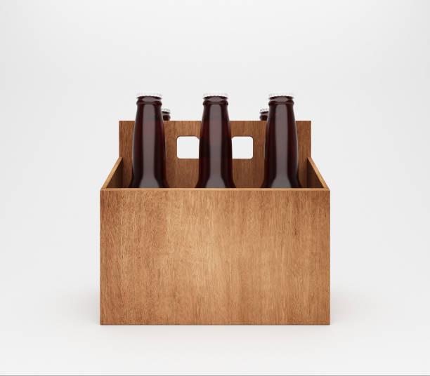 six bouteilles de bière au transporteur en carton en bois - pack de six photos et images de collection