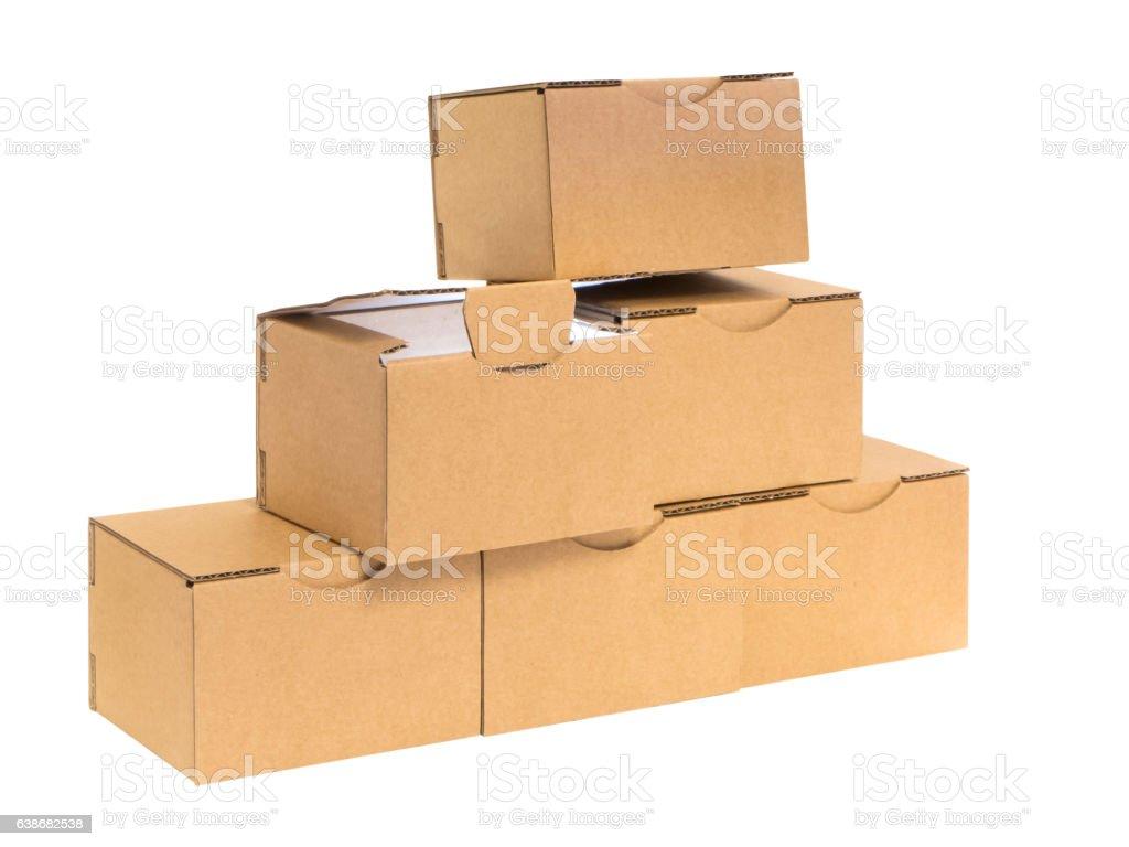 six boxes light inside stock photo