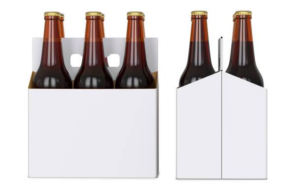 six bouteilles de bière brune en corton blanc pack. vue latérale et vue de face. rendu 3d, isolé sur fond blanc. - pack de six photos et images de collection