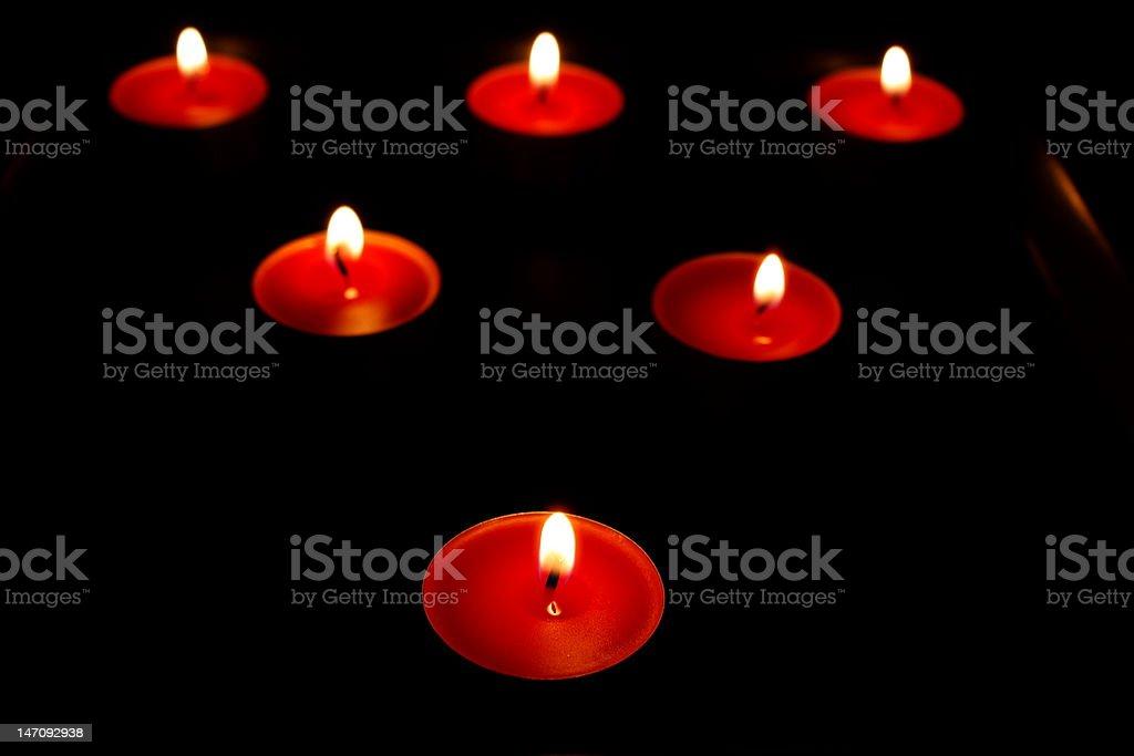 Six Burning candles royalty-free stock photo