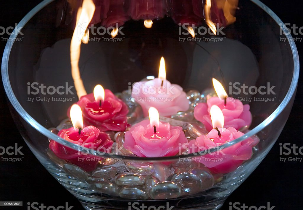 Six candles with flame royalty-free stock photo