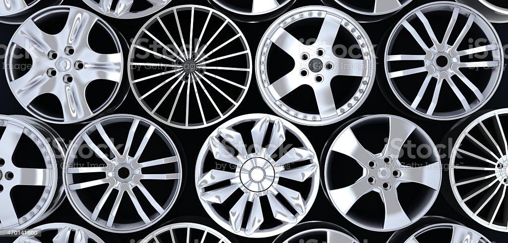 six car rims stock photo