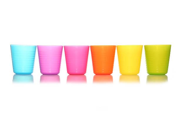 six childrens plastic cups stock photo