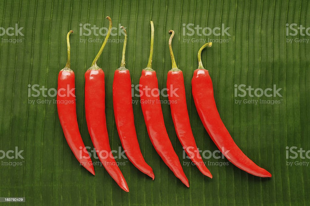 Six Chilli Peppers On Banana Leaf royalty-free stock photo