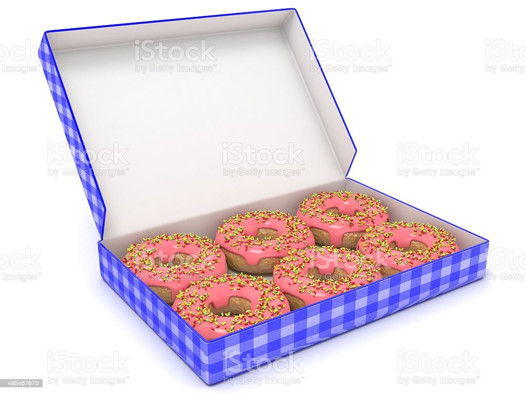 Six chocolate donuts in blue box. Side view. 3D render stock photo