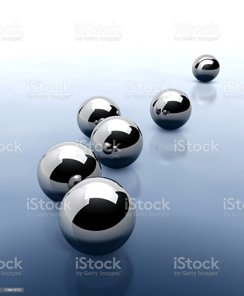 Six chrome balls on abstract blue background royalty-free stock photo