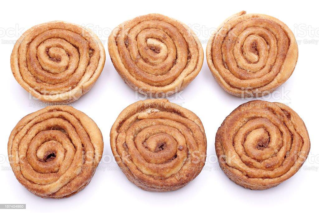 six cinnamon rolls royalty-free stock photo