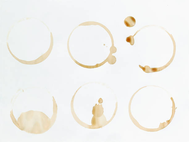 Six coffee stains on white surface stock photo