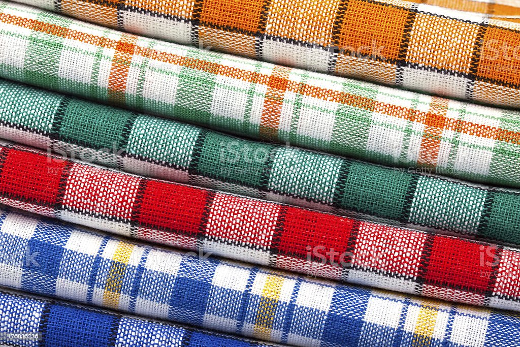 Six colored kitchen towels royalty-free stock photo
