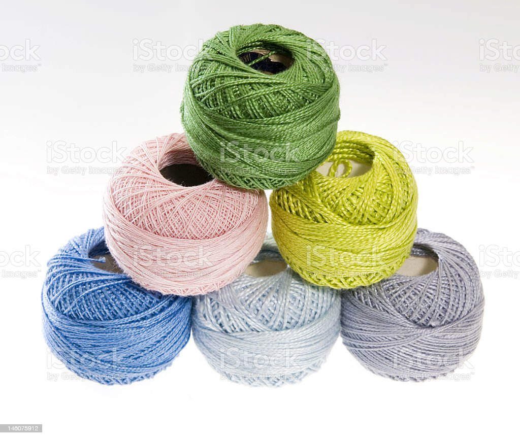 Six Colored Wool Yarn Balls royalty-free stock photo