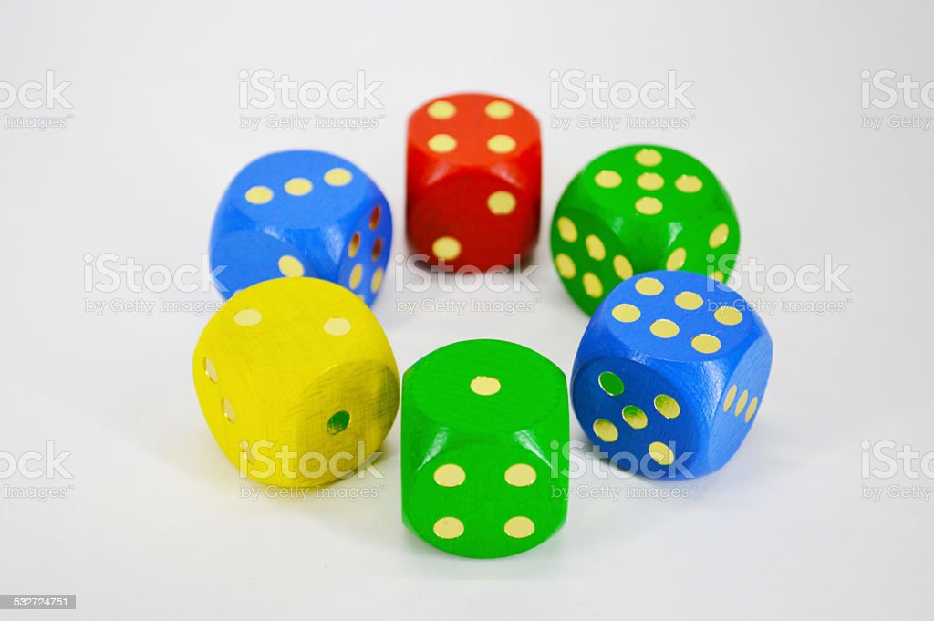 Six colorful dice royalty-free stock photo