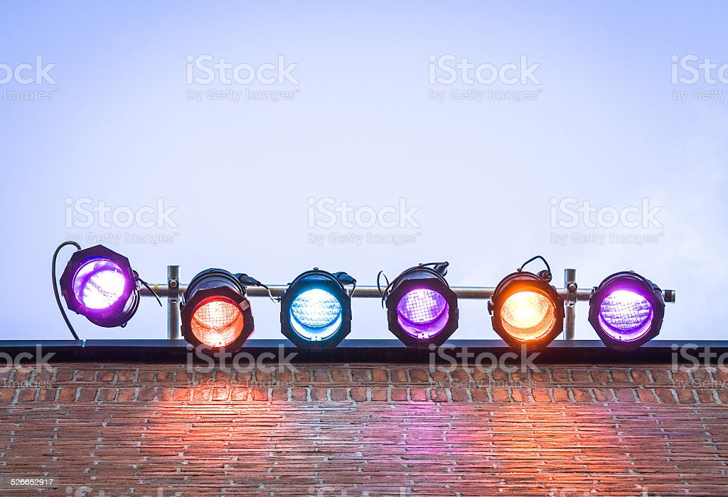 six colorful spotlights stock photo