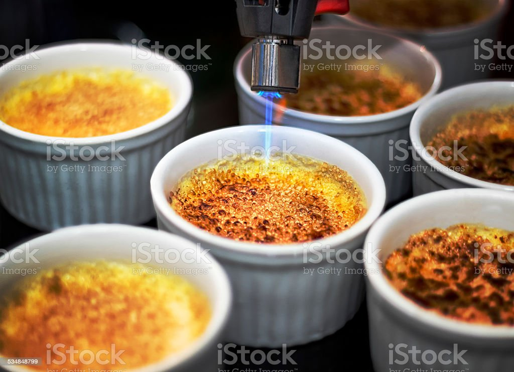 Six creme brulee stock photo