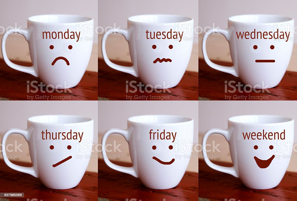 six cups with the words of days of the week stock photo